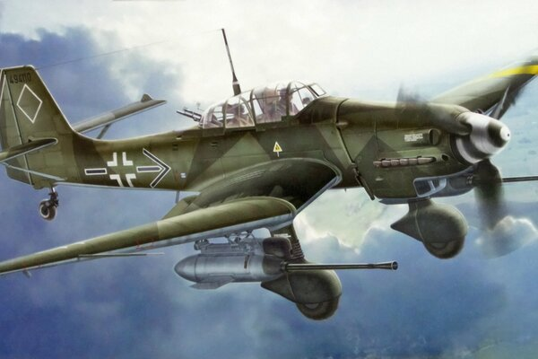 "Junkers Ju 87 G-2 Stuka ""Rudel"" German IIWW Dive-Bomber art painting aviation"