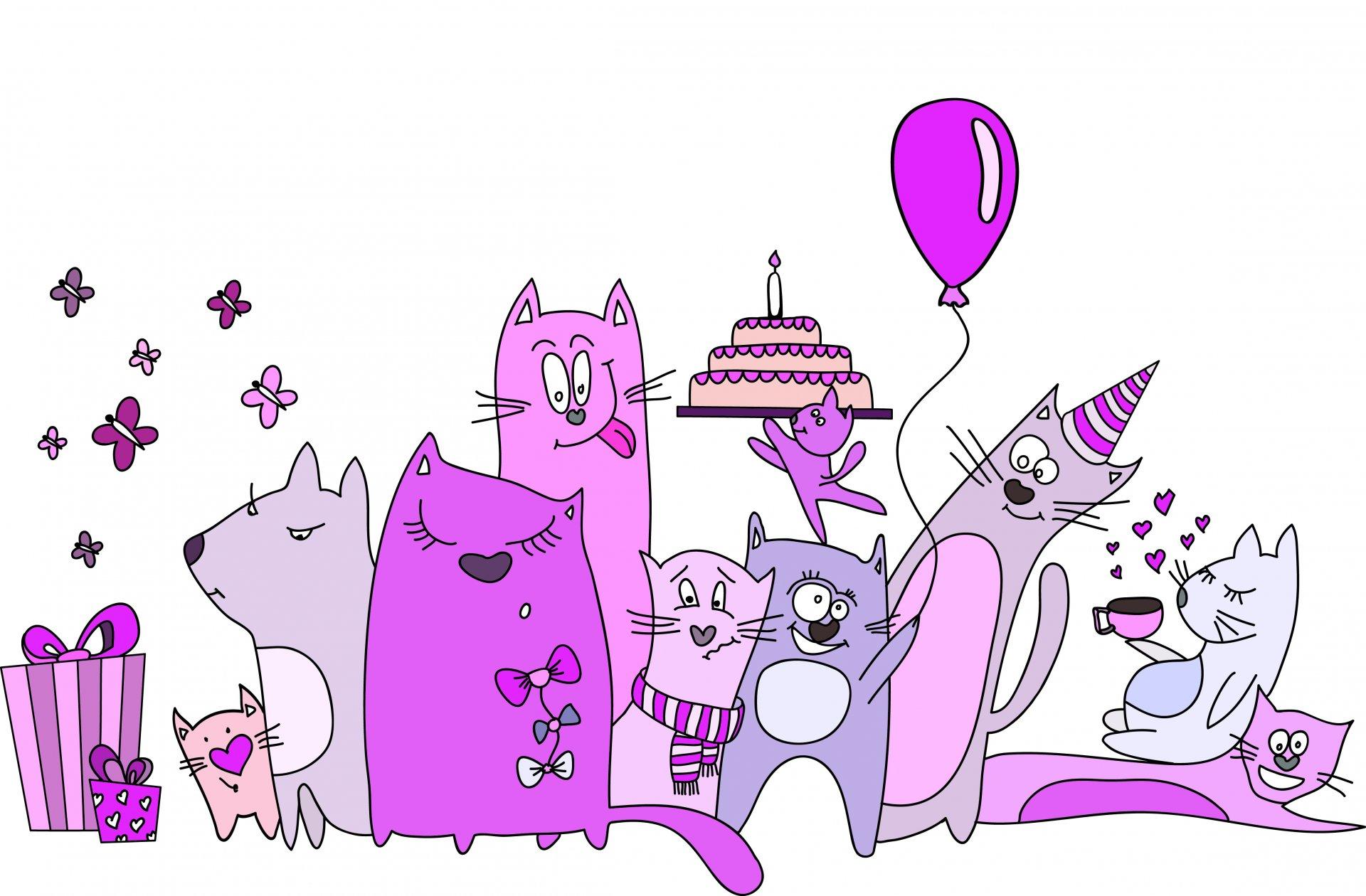 С днем рождения картинки прикольные кот
