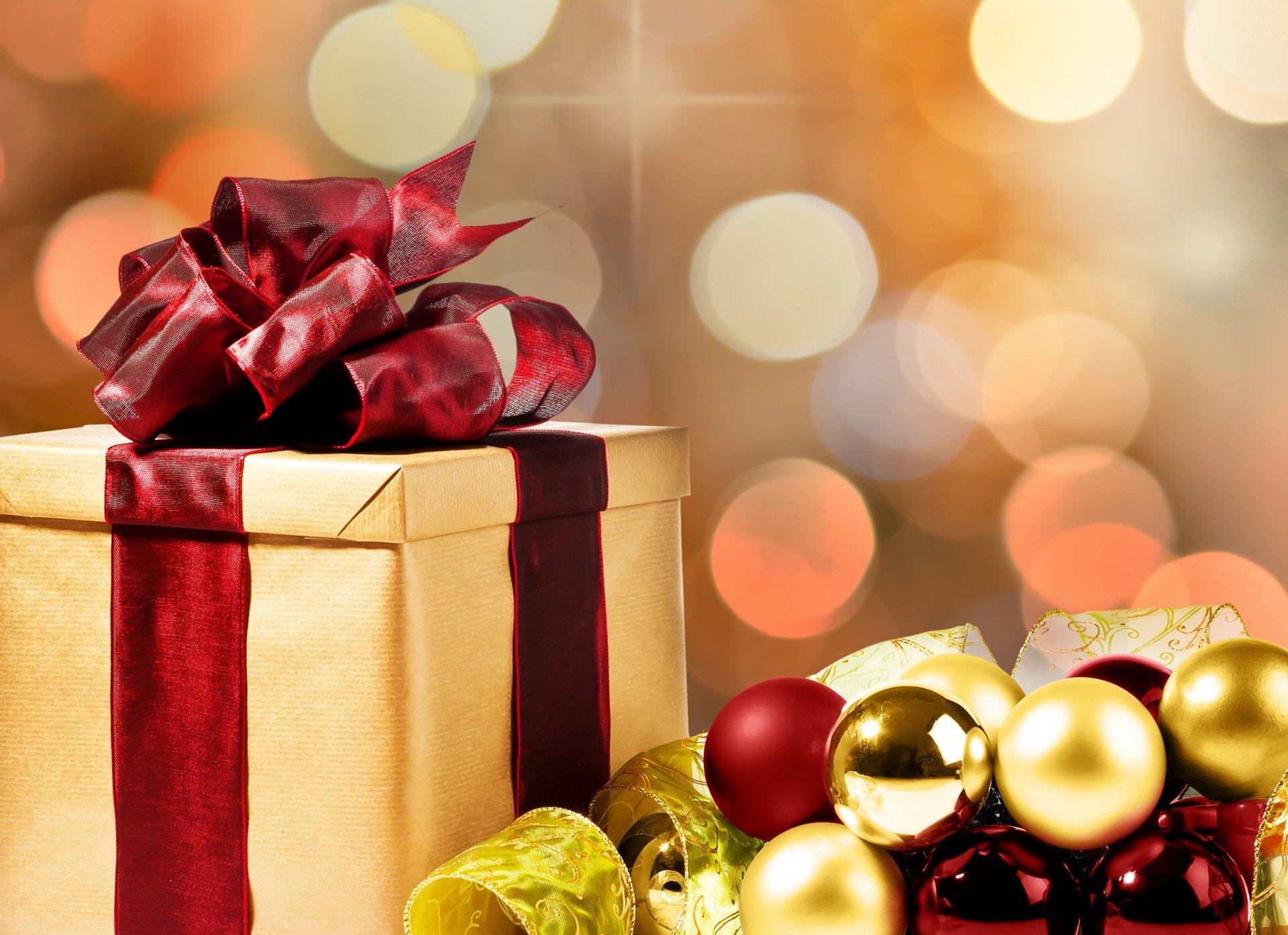 Обои подарок, Коробка, рождество, ёлочные украшения, золотые, шарики. Новый год foto 12
