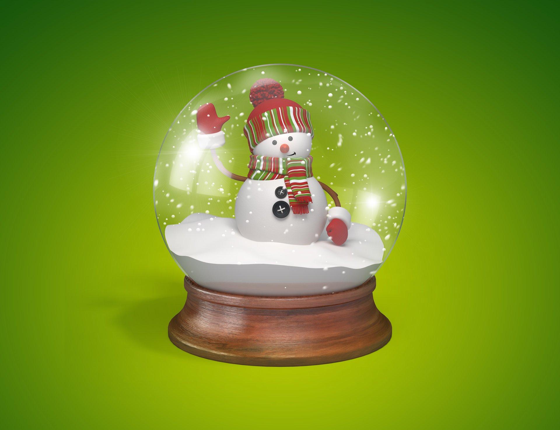 Лет, открытка шар со снегом