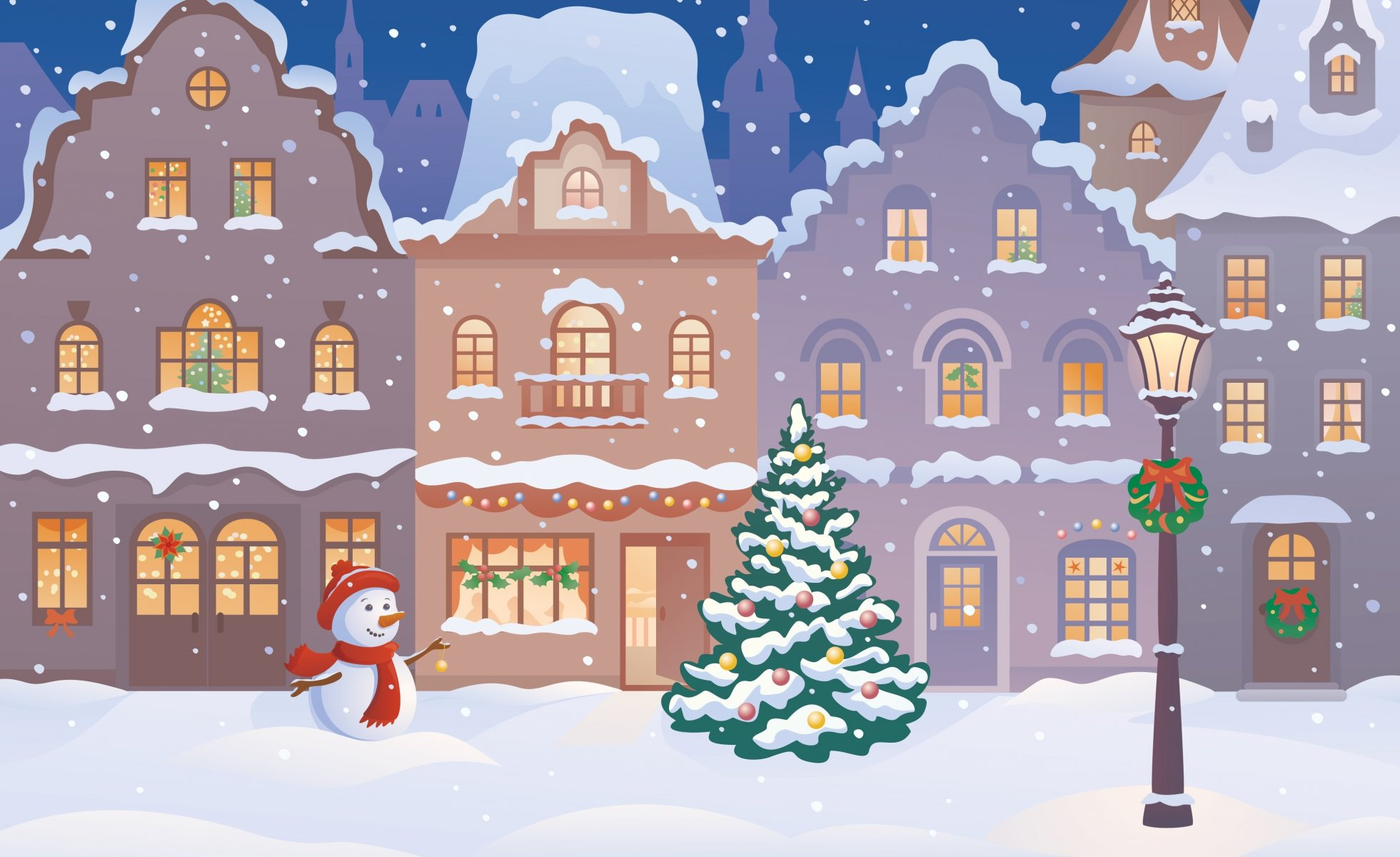 Новогодние картинки с домиком и снеговиком