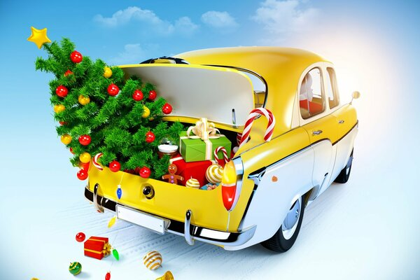 new year merry christmas toy snow gifts christmas tree sweets gifts ornaments decoration dolls balls New Year snow Santa's Sleigh modern santa claus classic car Новый год с Рождеством Христовым игрушк