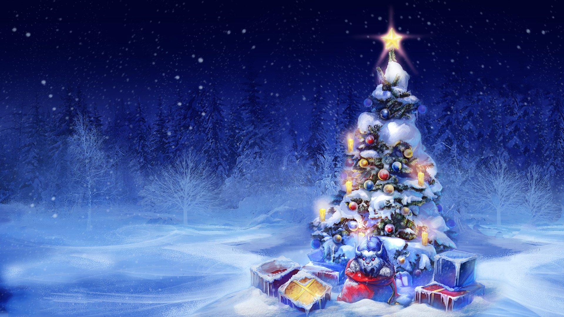 Новогодняя открытки с елкой, летием