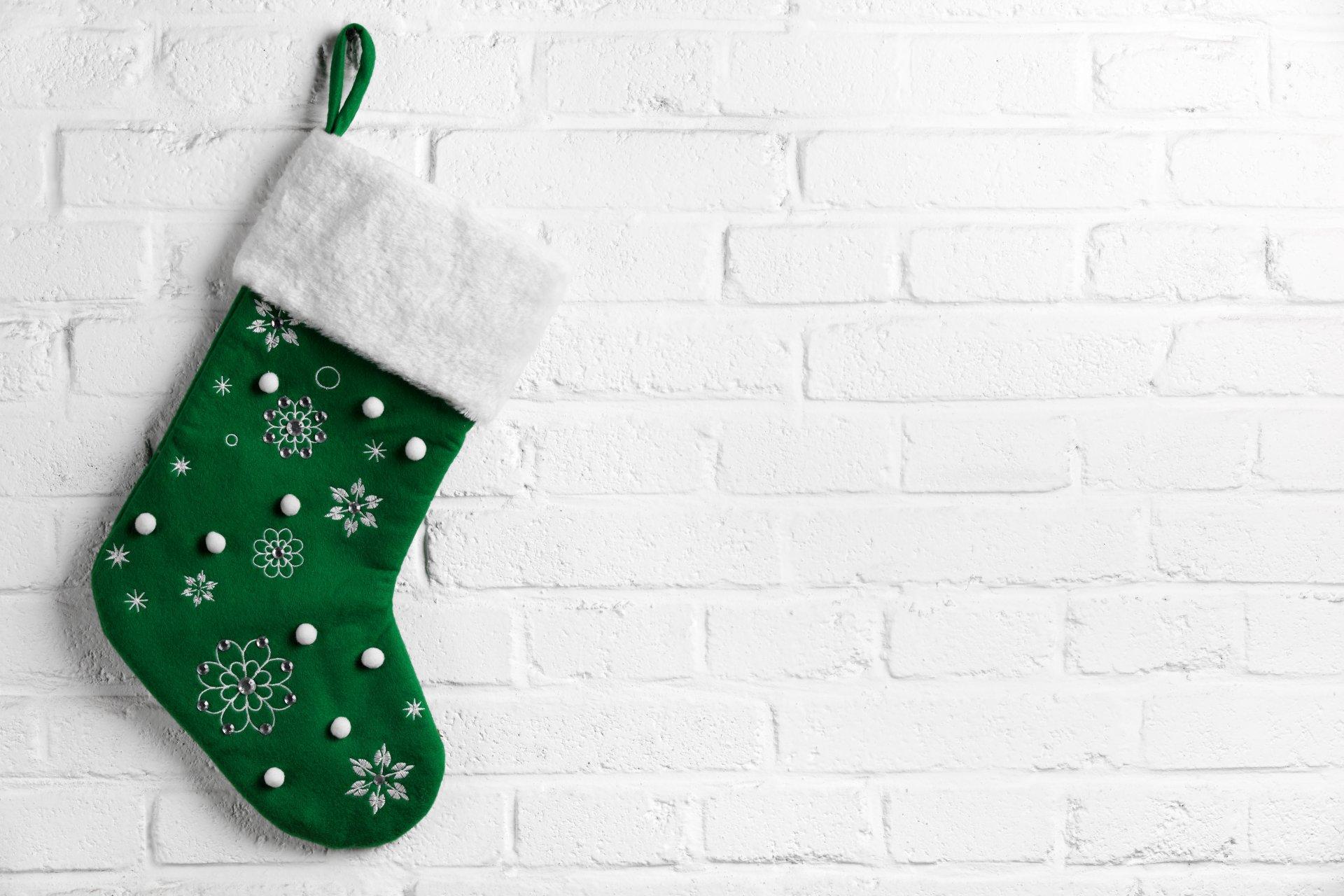 новогодний носок открытка один