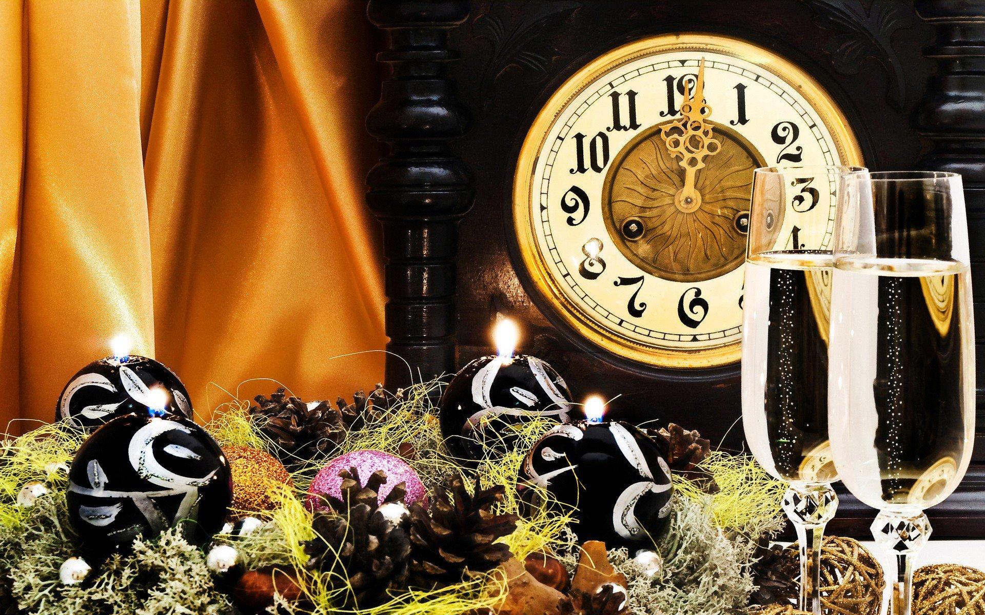 Новогодние открытки с часами фото