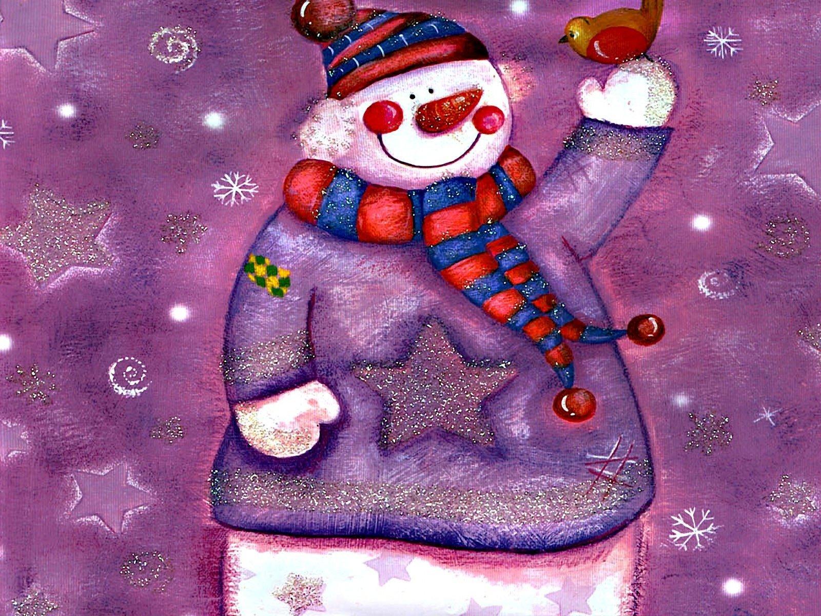 Открытка 3 снеговика, пожеланием