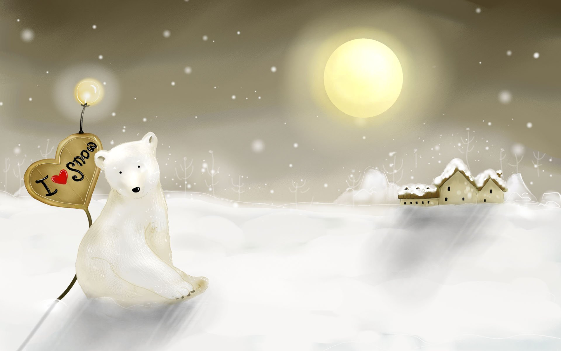 Романтические, открытка с белым медведем