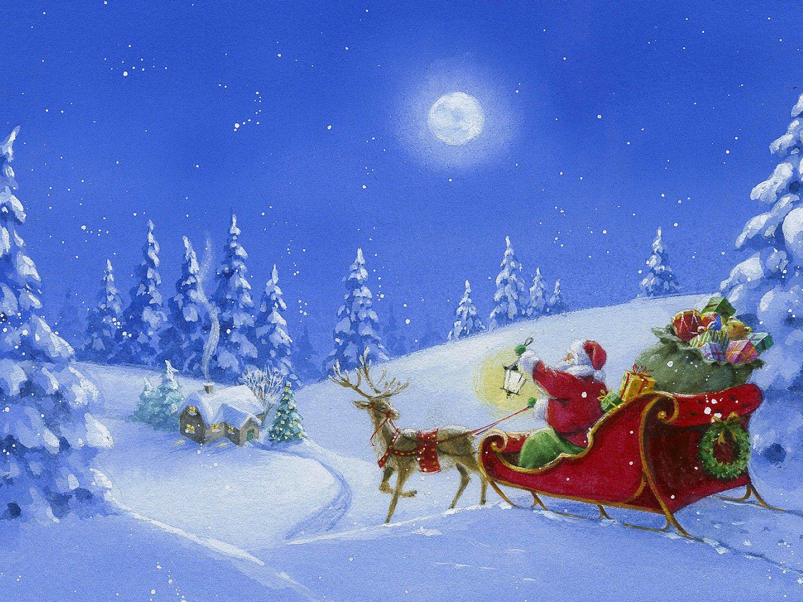 дети новогодние картинки с дедом морозом на санях и с елкой красивые съемки