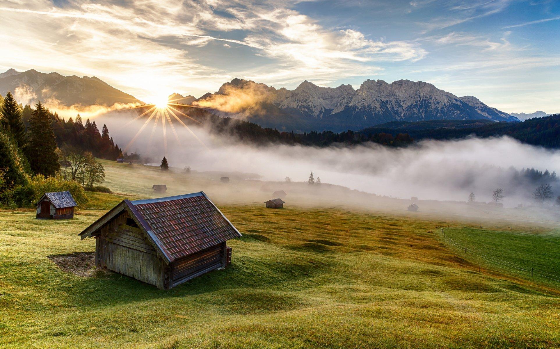 Обои Облака, бавария, германия, горы, природа, свет. Природа foto 6