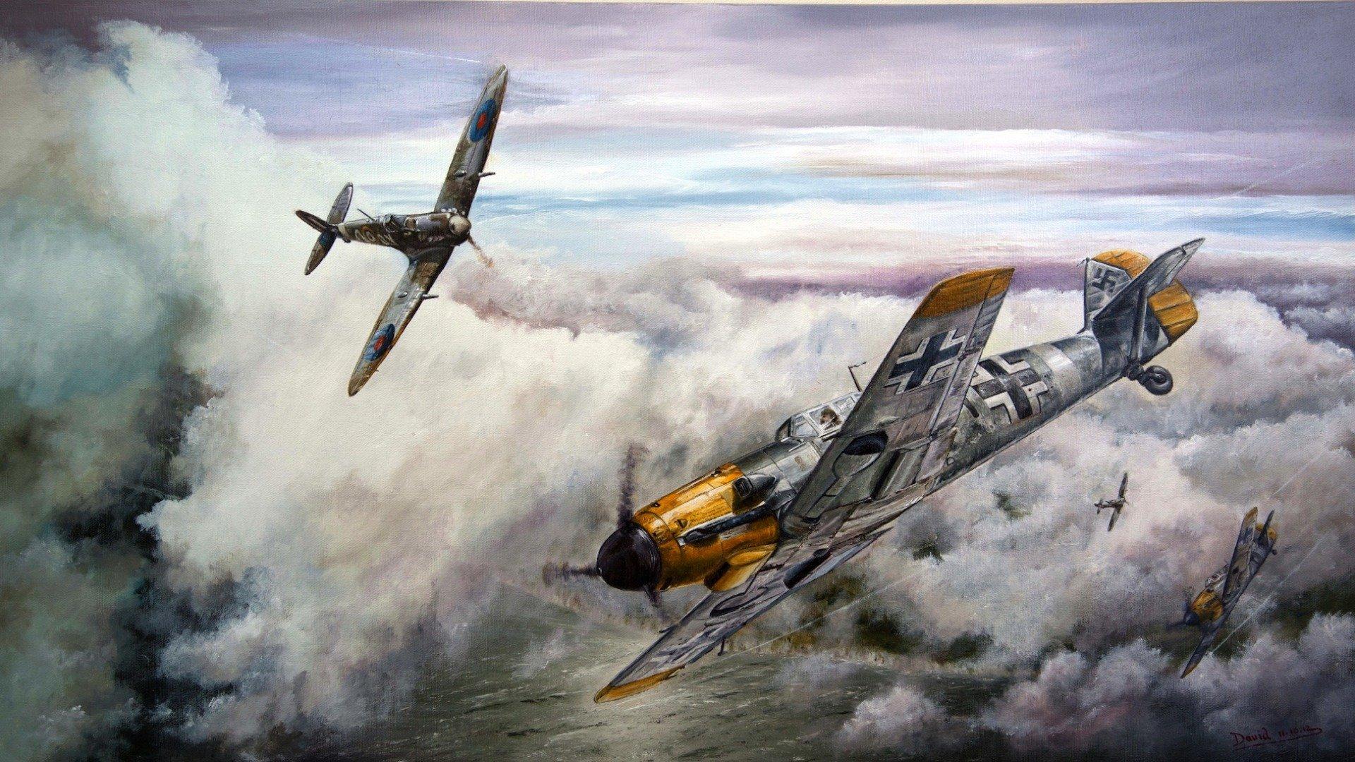 Обои Вторая мировая, истребитель, британский, spitfire, пилоты, рисунок. Авиация foto 14