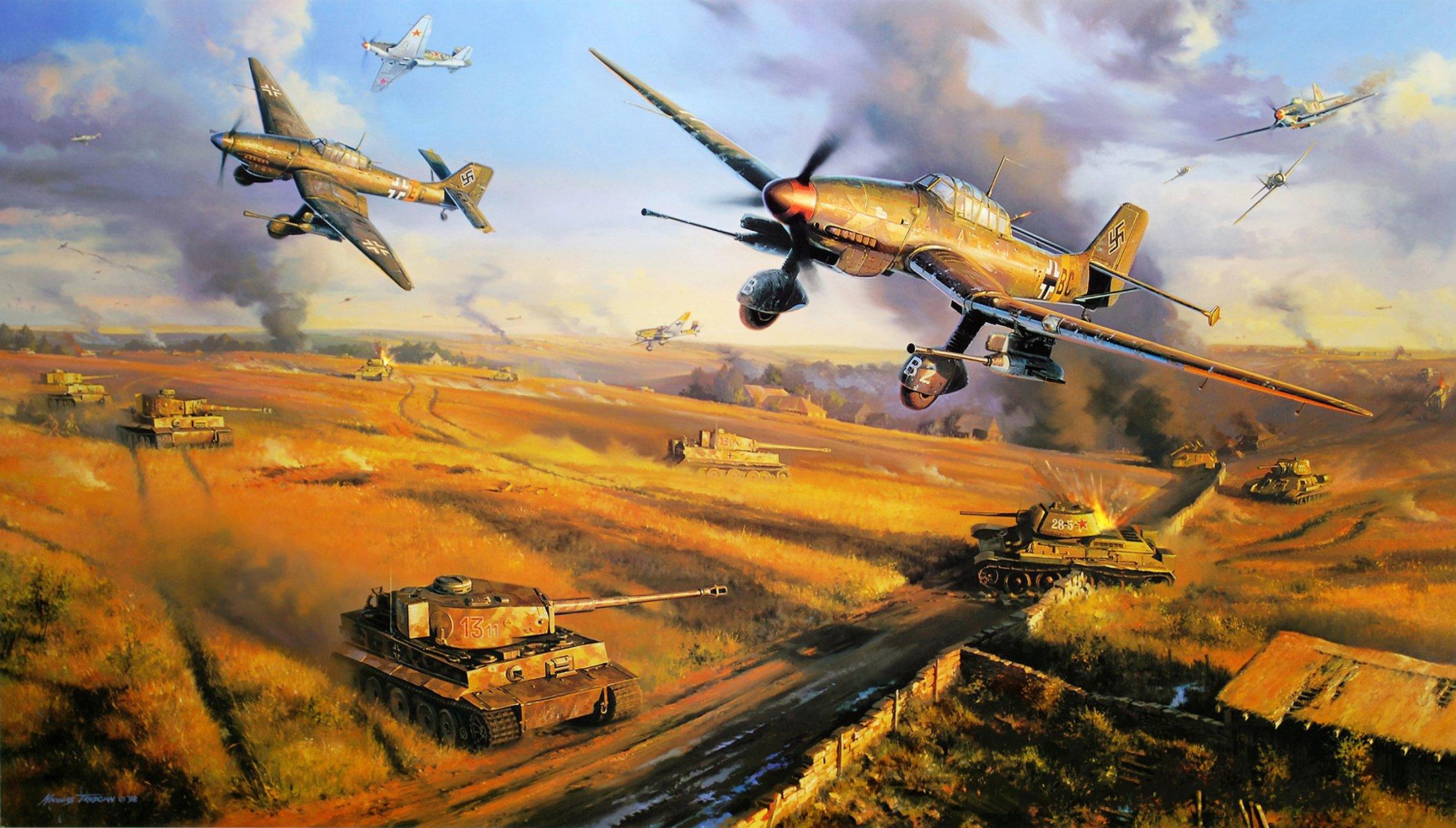 Обои война, сражение, сбитый юнкерс, рисунок. Авиация foto 11
