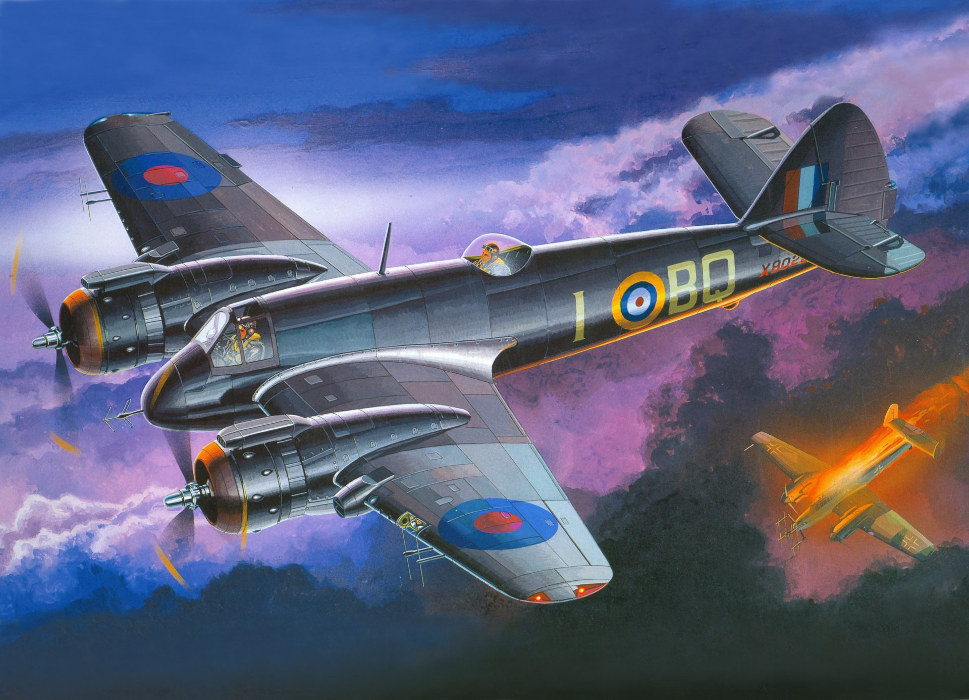 Обои beaufighter, двухмоторный, Арт. война, bristol, британский. Авиация foto 10