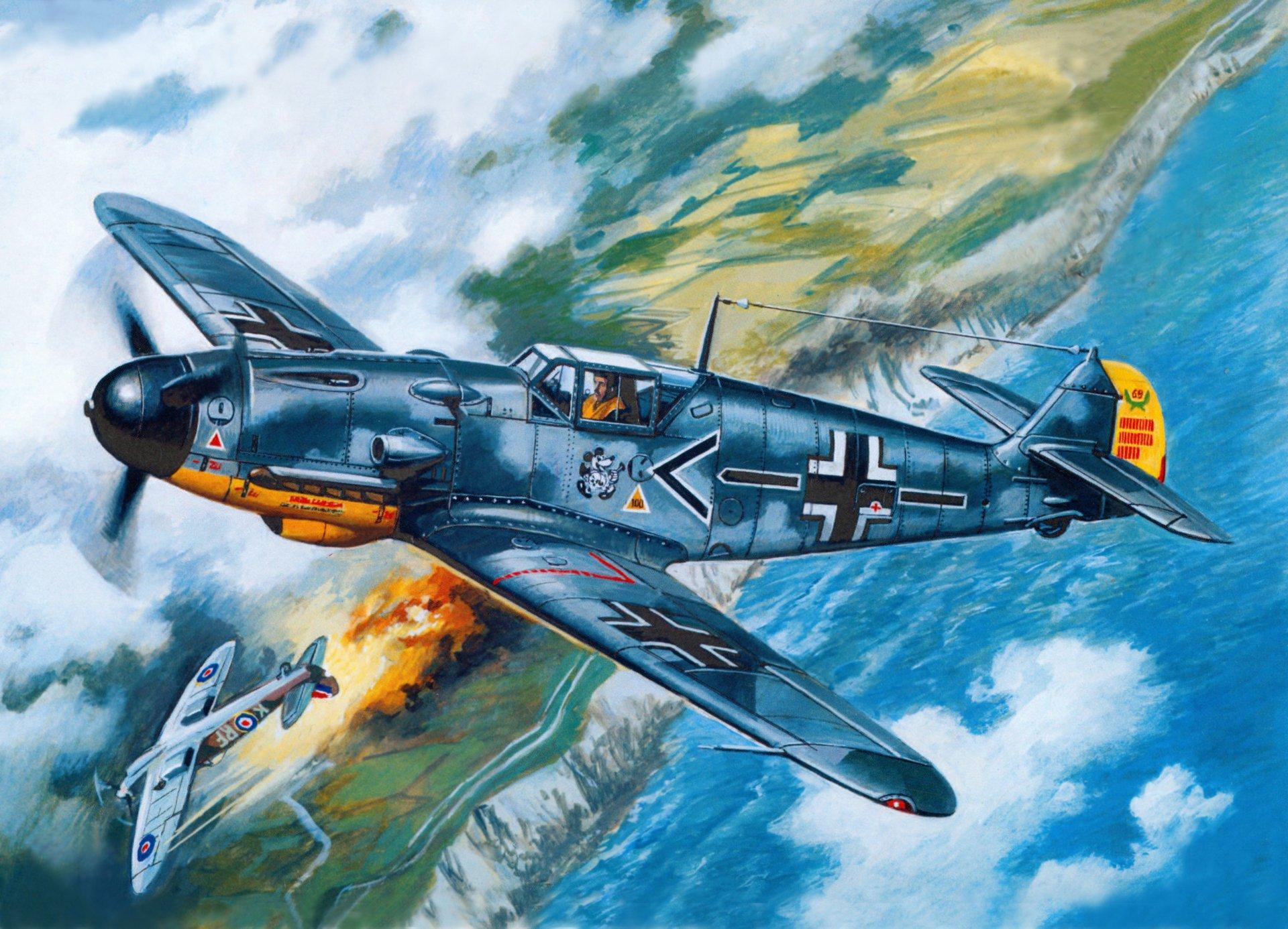 Обои bf-109f-2/u2, воздушный, самолеты. Авиация foto 6
