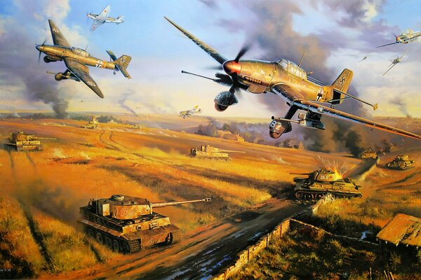 junker ju 87 german aircraft ww2 art war painting drawing aviation art army dogfight shootdown cold ice german bomber yak 7 russian fighter russian aircraft russian tank german tankm panzer t-34 tiger