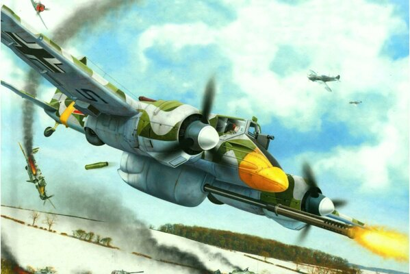 hs 129 german aircraft ww2 war art painting
