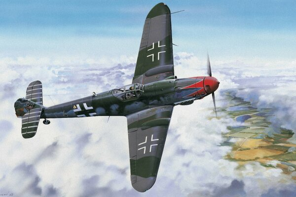 german fighter ww2 war art painting drawing bf 109