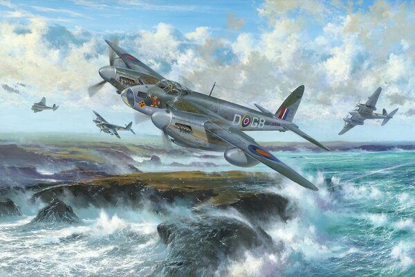 de havilland mosquito british fighter british aircraft war art ww2 painting drawing airplane dogfight