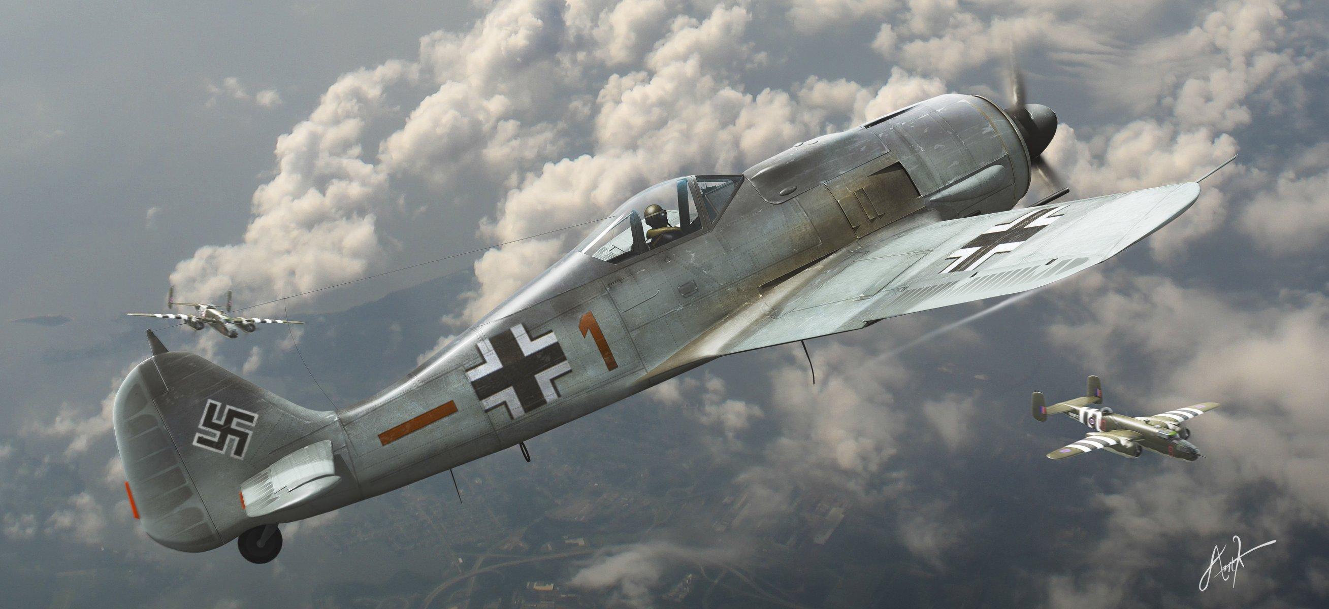 Обои войны, bf.109, мировой, Fw-190, истребители, второй. Авиация foto 7