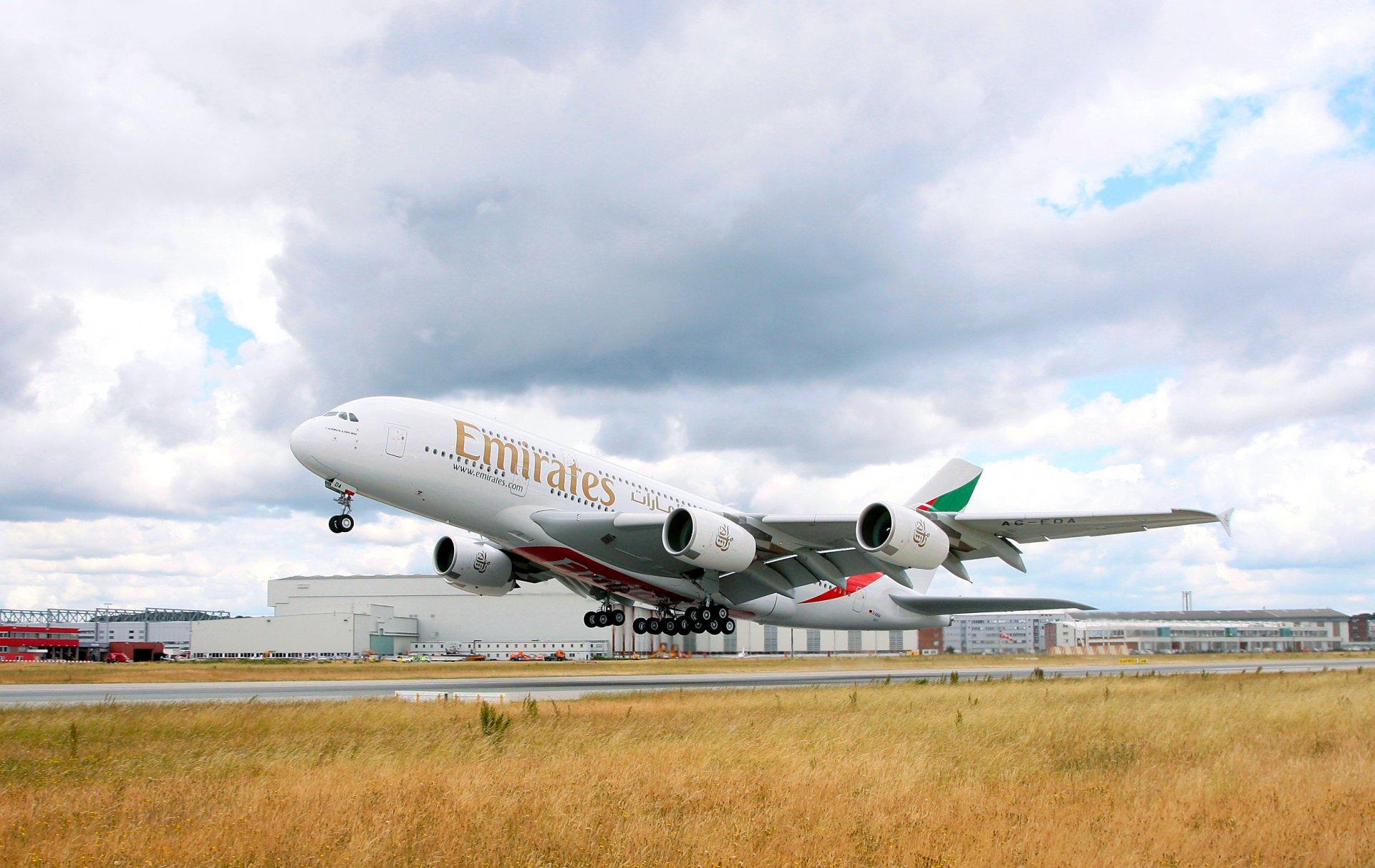 Обои пассажирский, airbus, авиалайнер, Emirates airline, Самолёт. Авиация foto 13