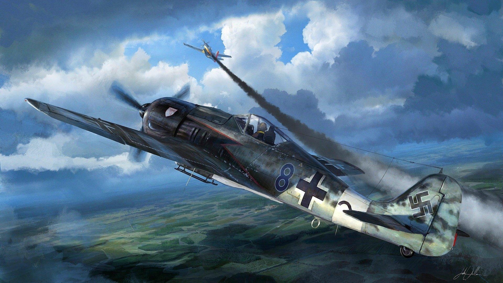 Обои войны, bf.109, мировой, Fw-190, истребители, второй. Авиация foto 8