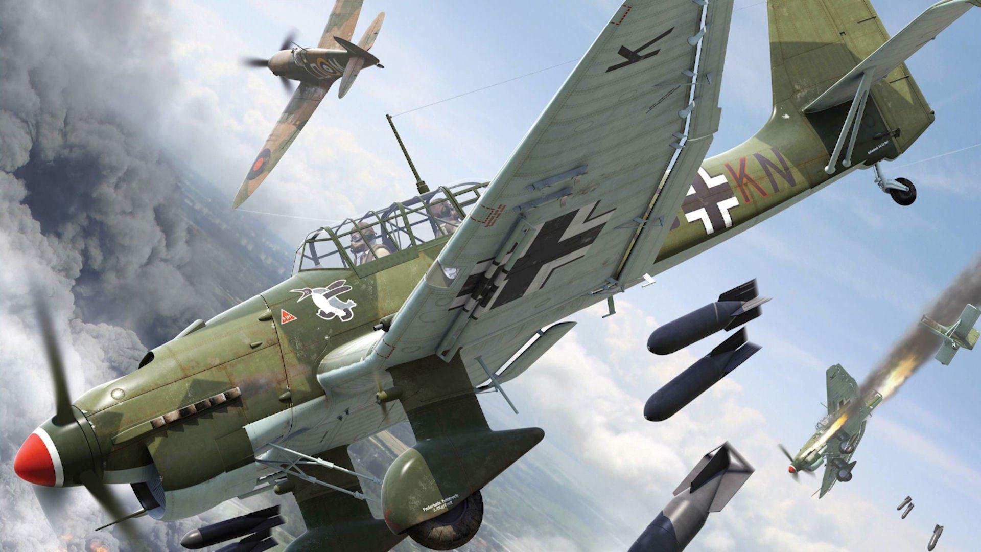 Обои война, сражение, сбитый юнкерс, рисунок. Авиация foto 8