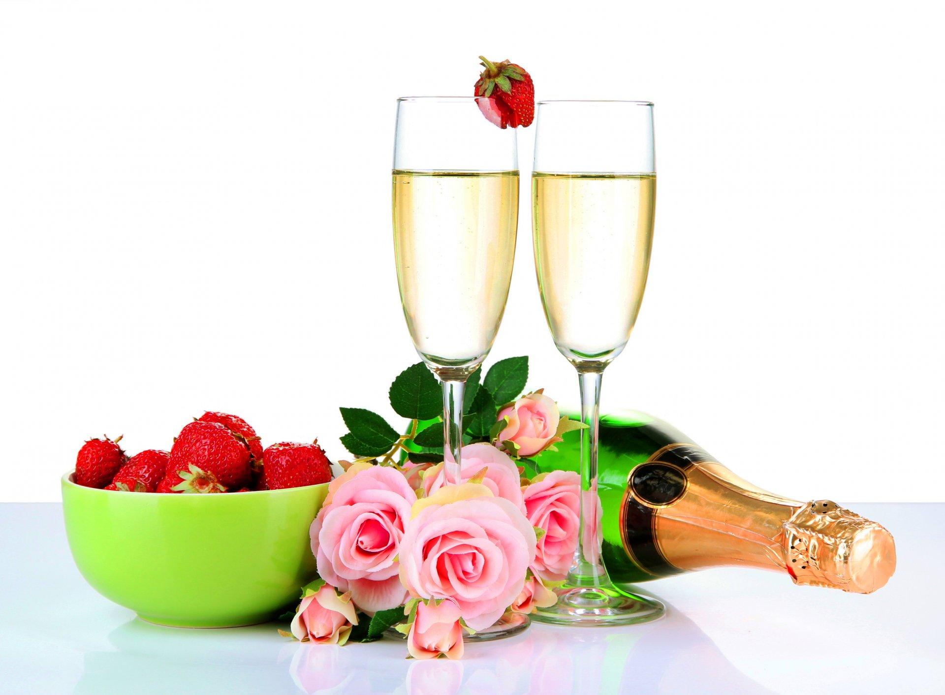 Шампанское и цветы