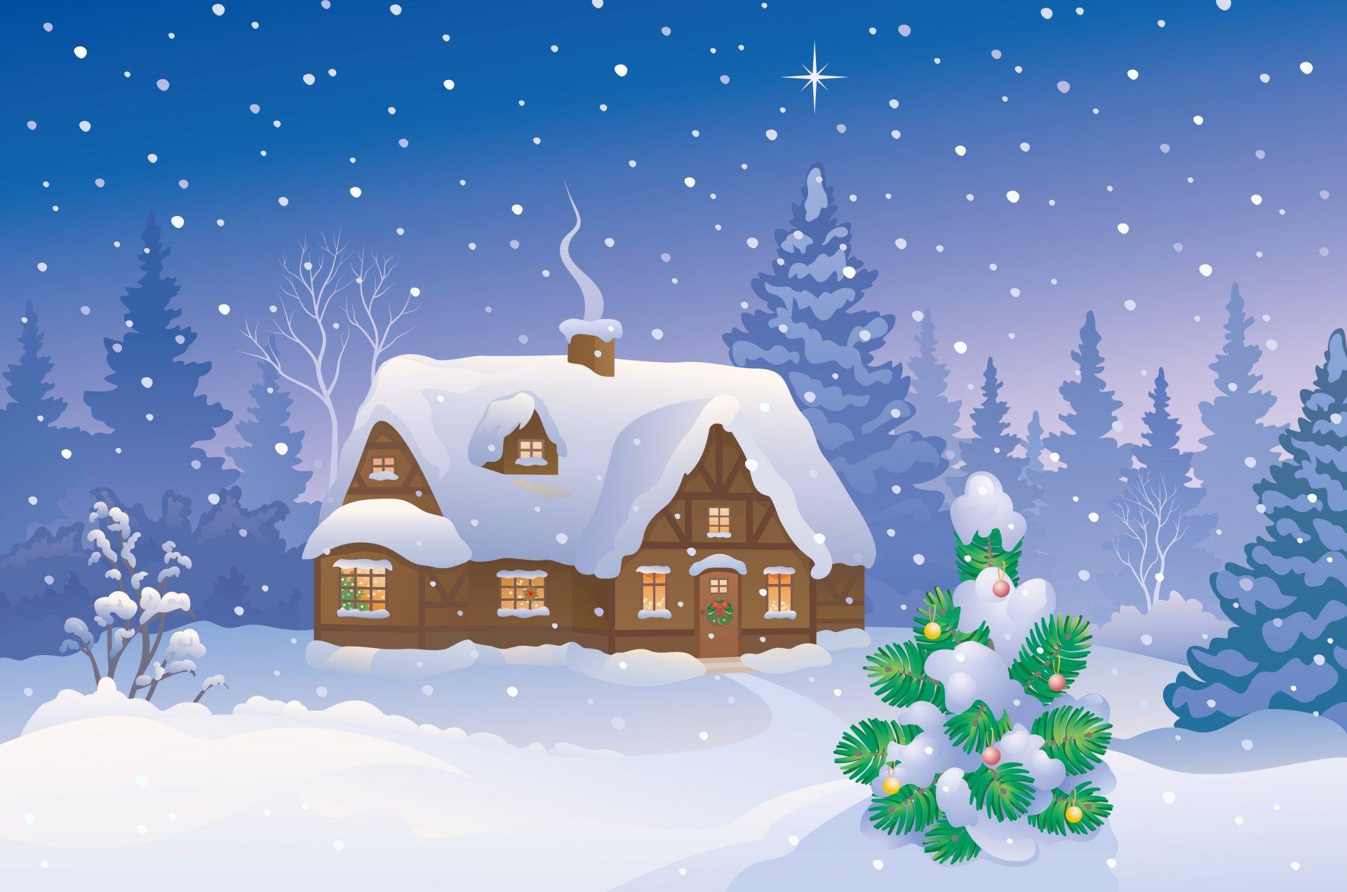 Новогодние картинки с домиками, наступающим новым годом