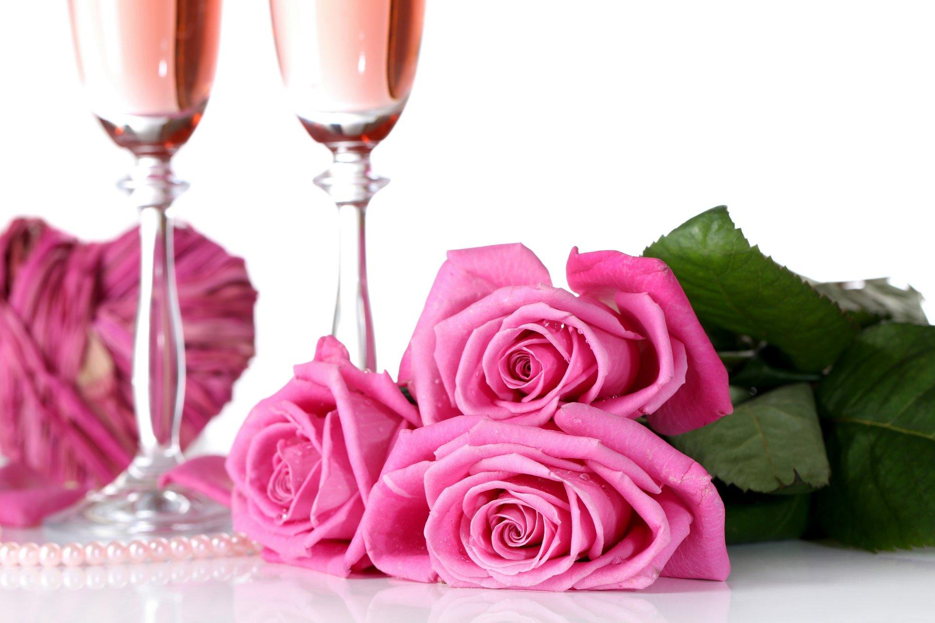 Картинки с днем рождения цветы и шампанское