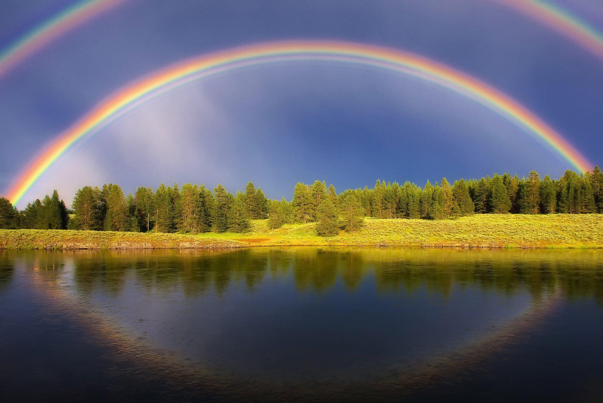Анимация радуга над полем, открытки для