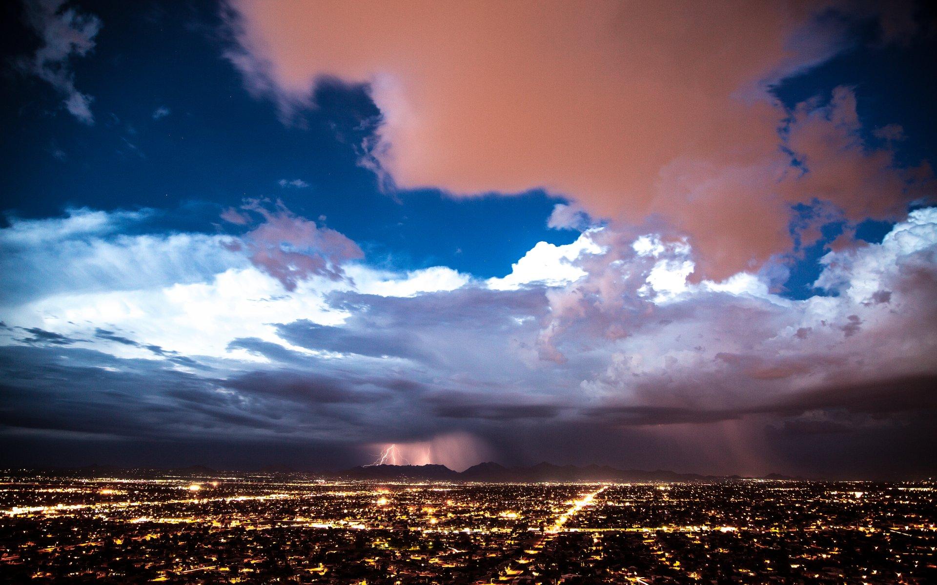 Обои гроза, молния, буря, тучи. Города foto 10