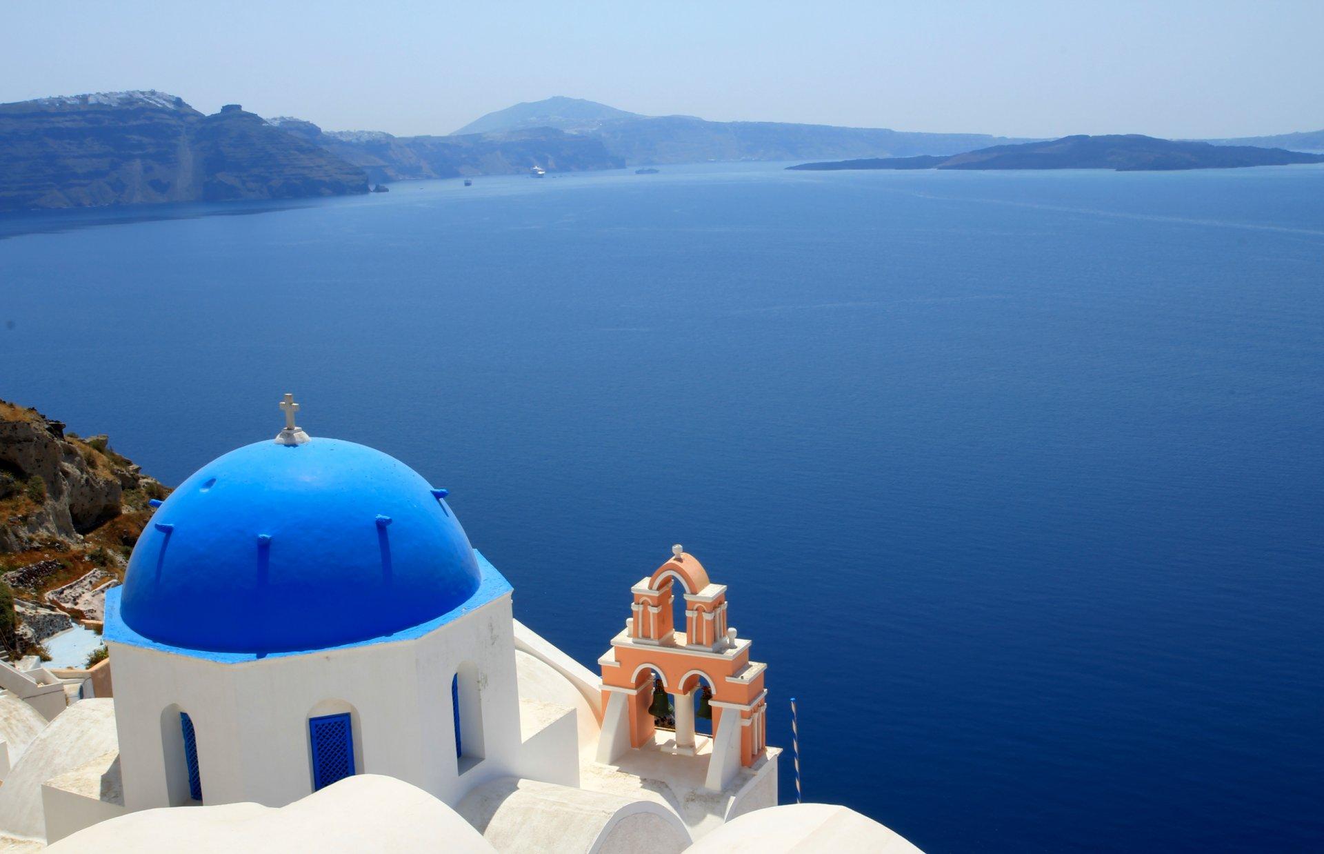Обои греция, церковь, Облака, Облака, купол. Города foto 9