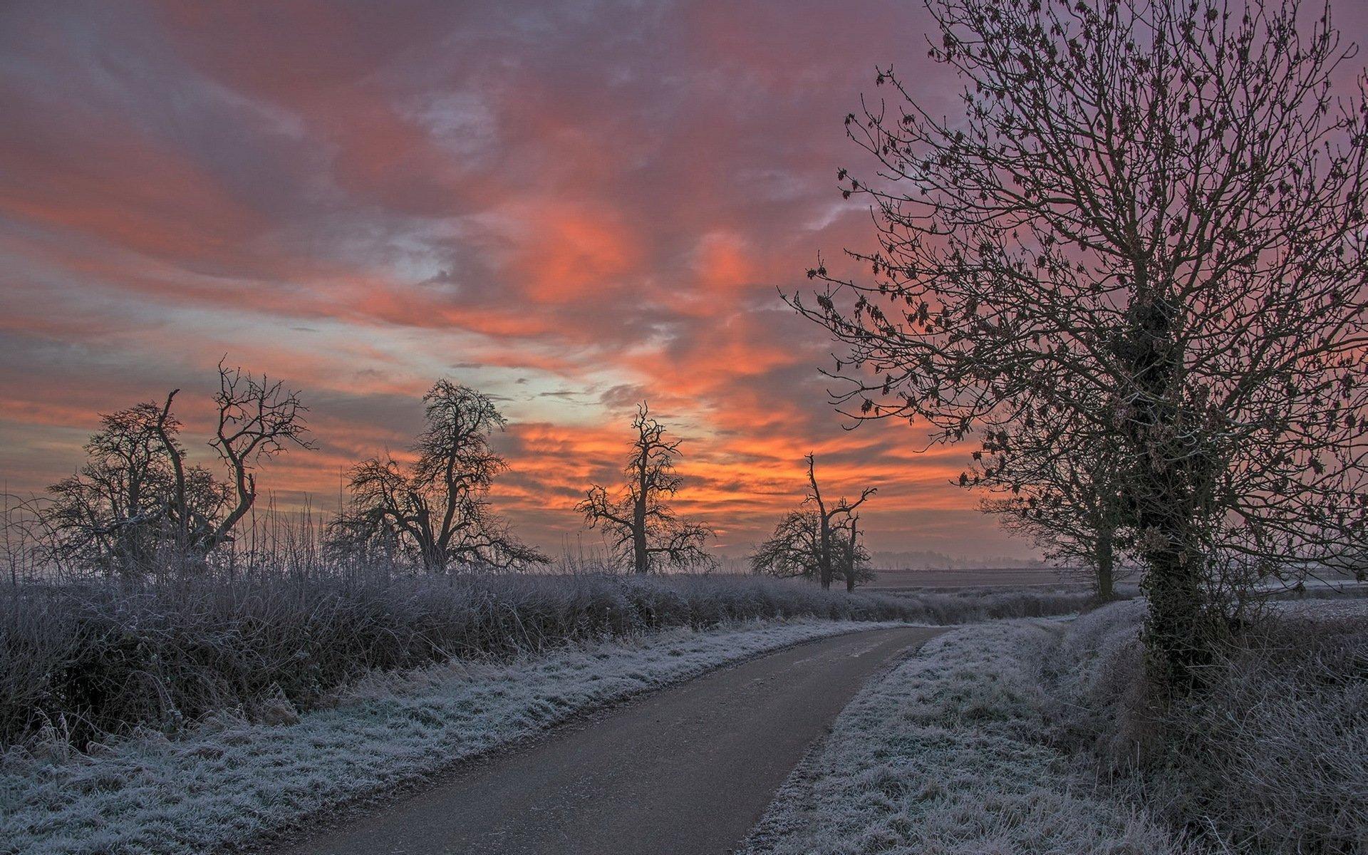 дорога зима вечер снег  № 3902620 без смс