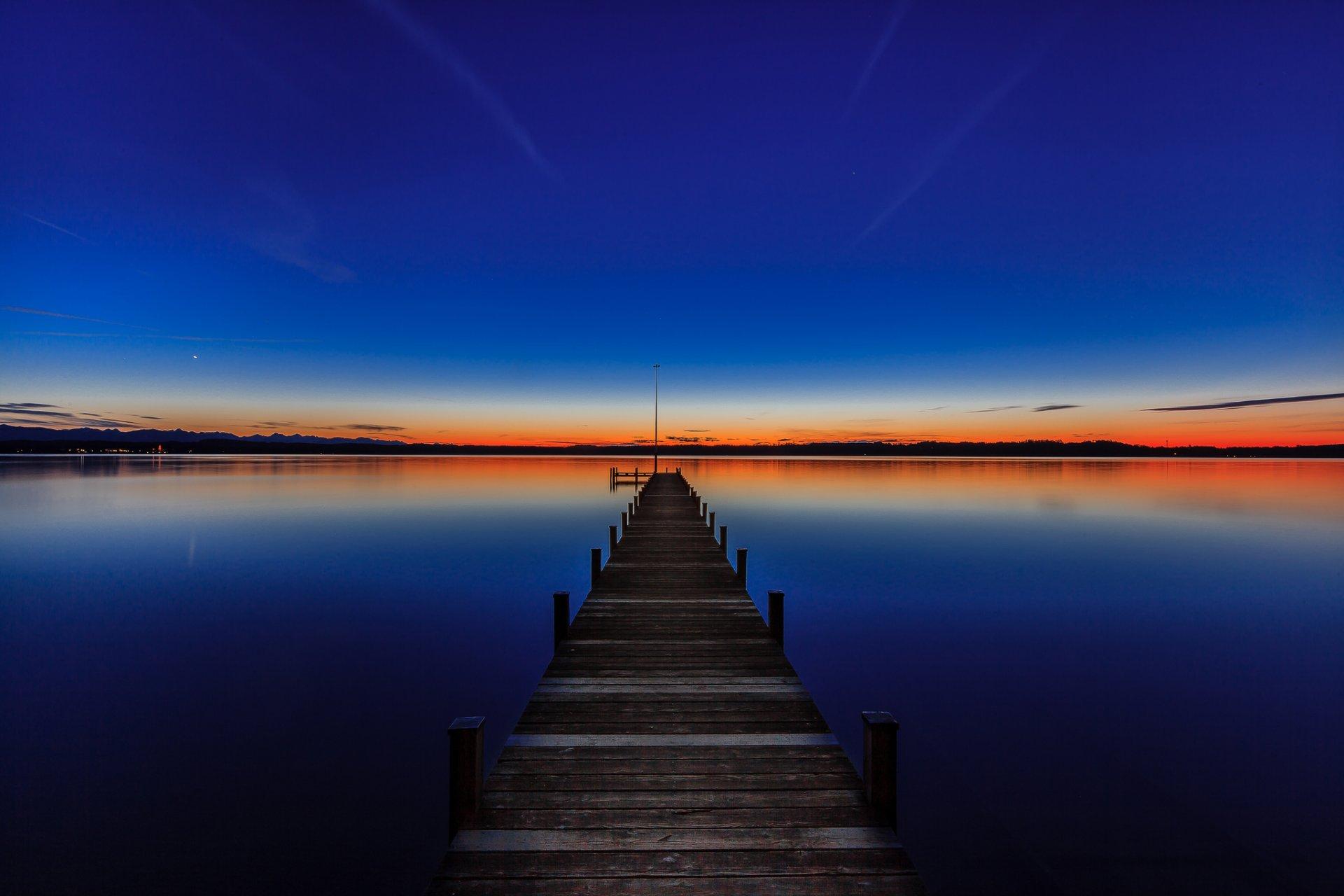 закат, пирс, озеро загрузить