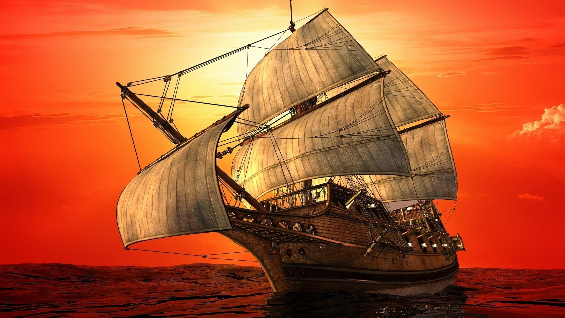 Обои корабль, парусник, Облака. Пейзажи foto 9