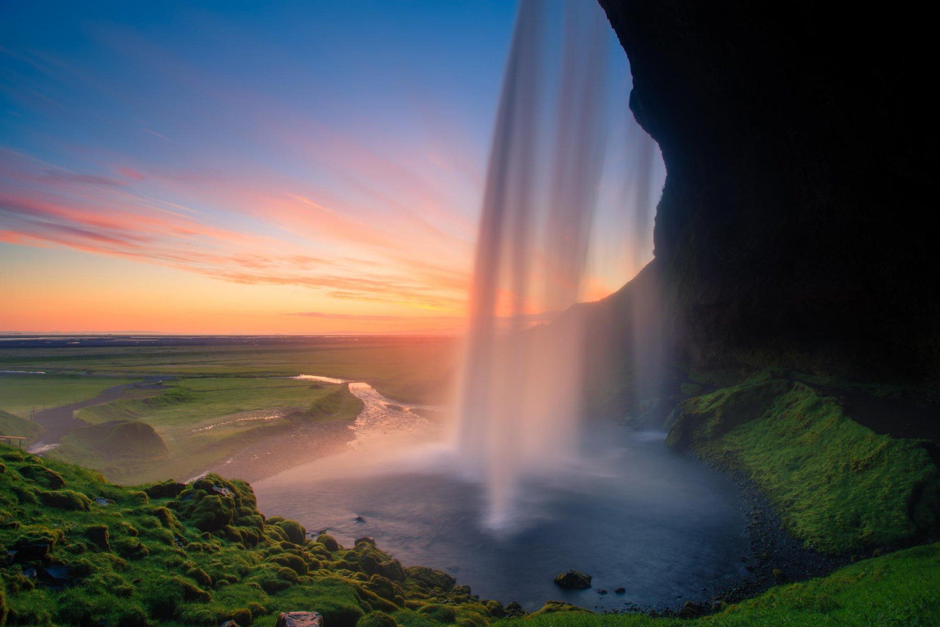 природа водопад деревья радуга  № 70474 бесплатно
