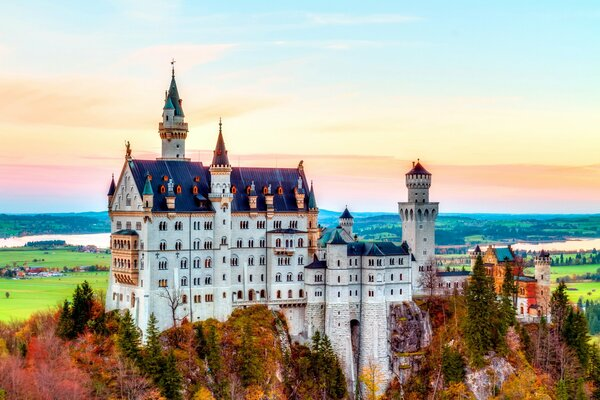Neuschwanstein Castle Bavaria Germany Alps autumn mountain splendor castle замок Нойшванштайн