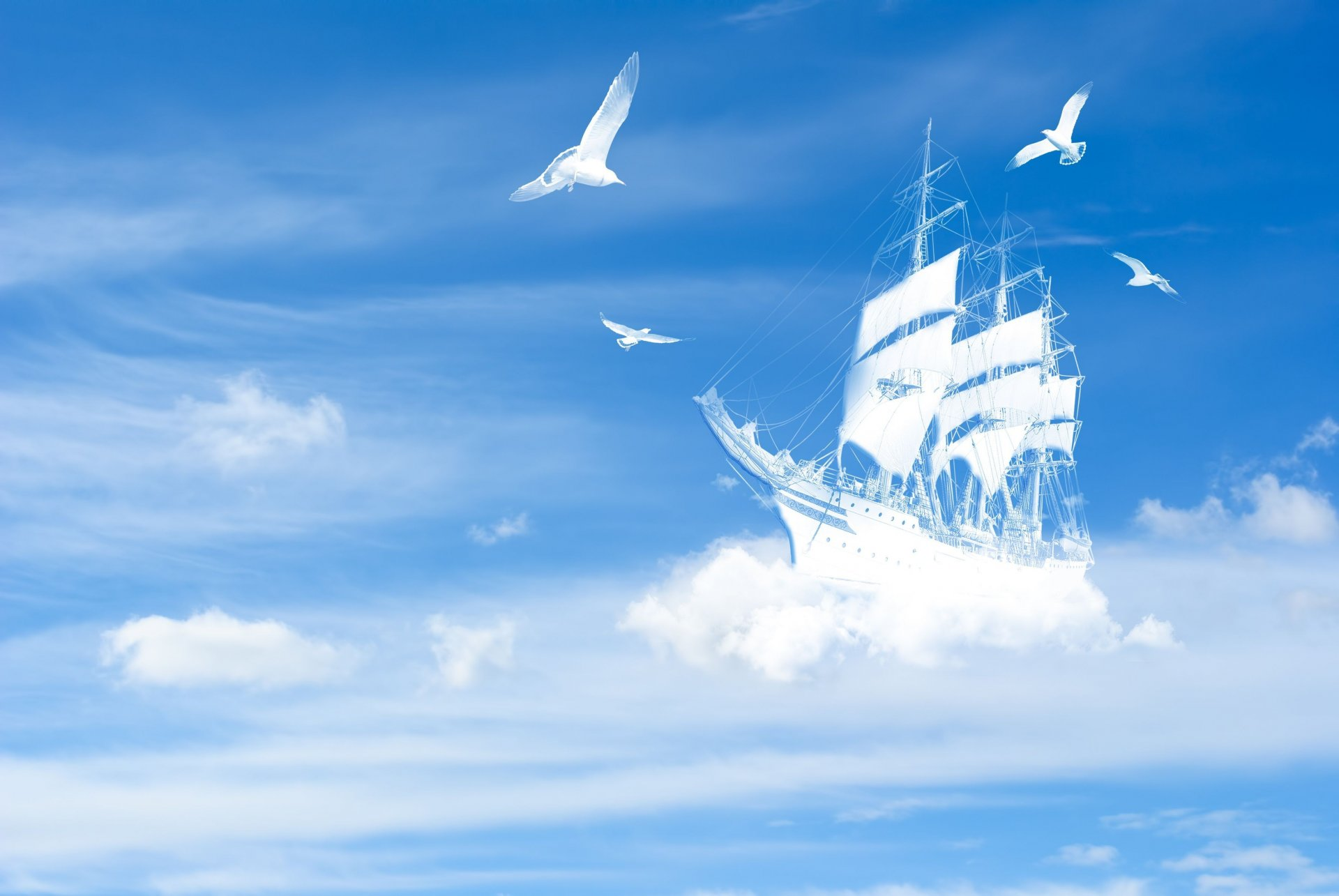 обои яхта в море