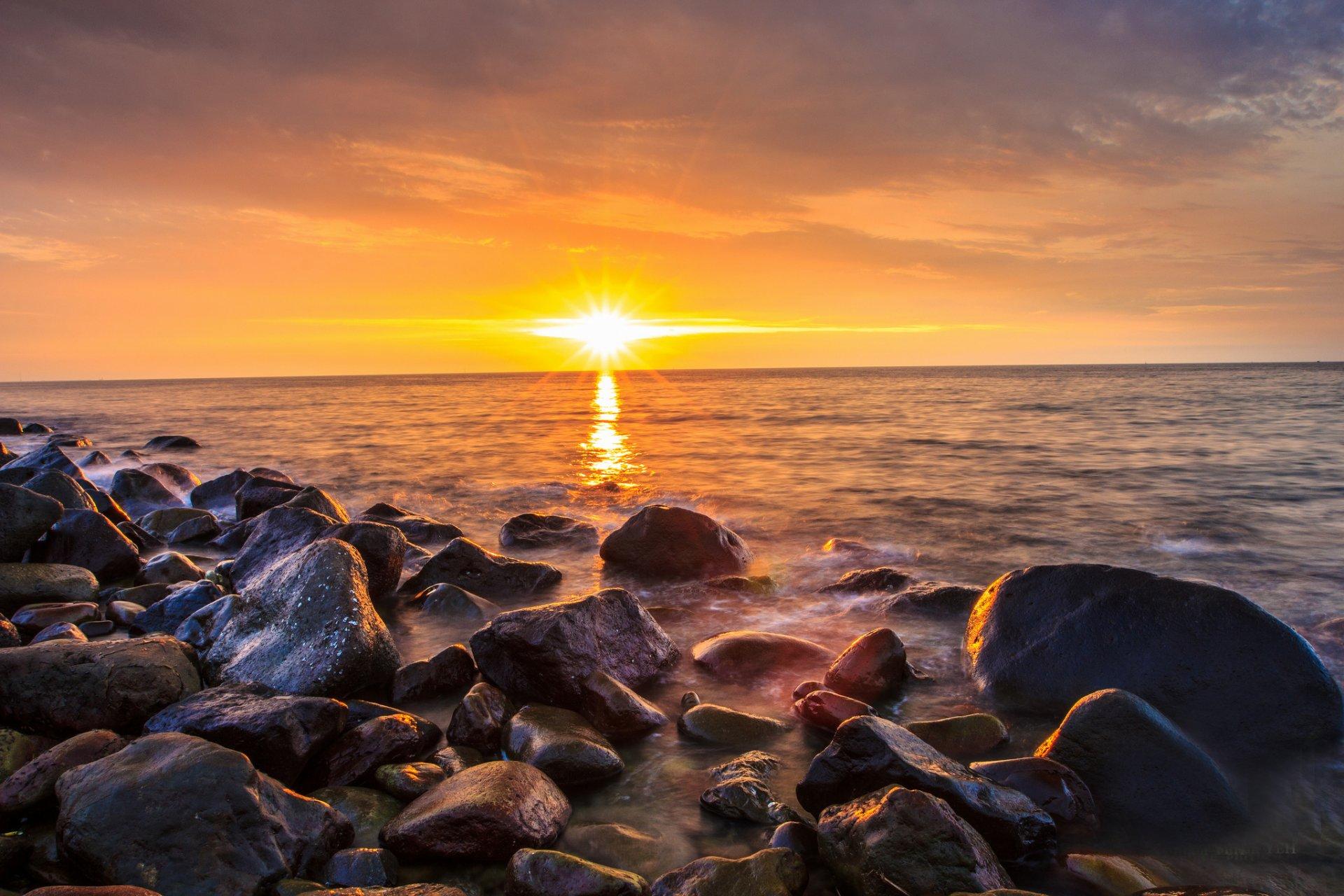 Картинка восход солнца на море, дню