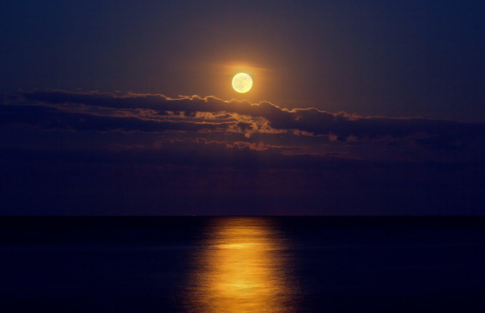 ночь луна море night the moon sea скачать