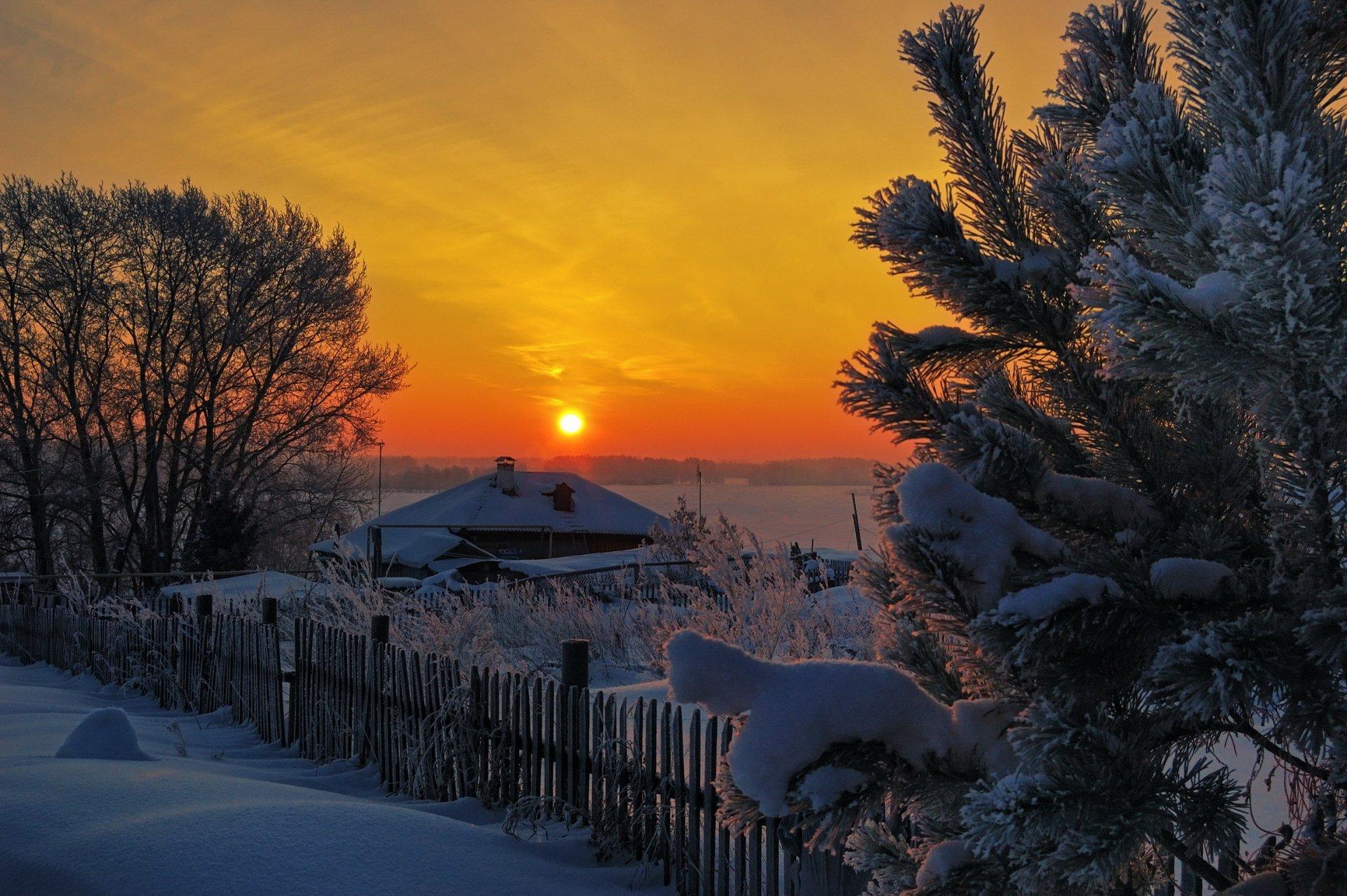 Зимняя деревня картинки