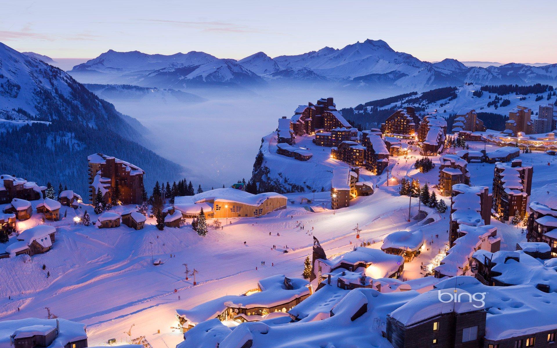 Горы, отели, снег, зима без смс