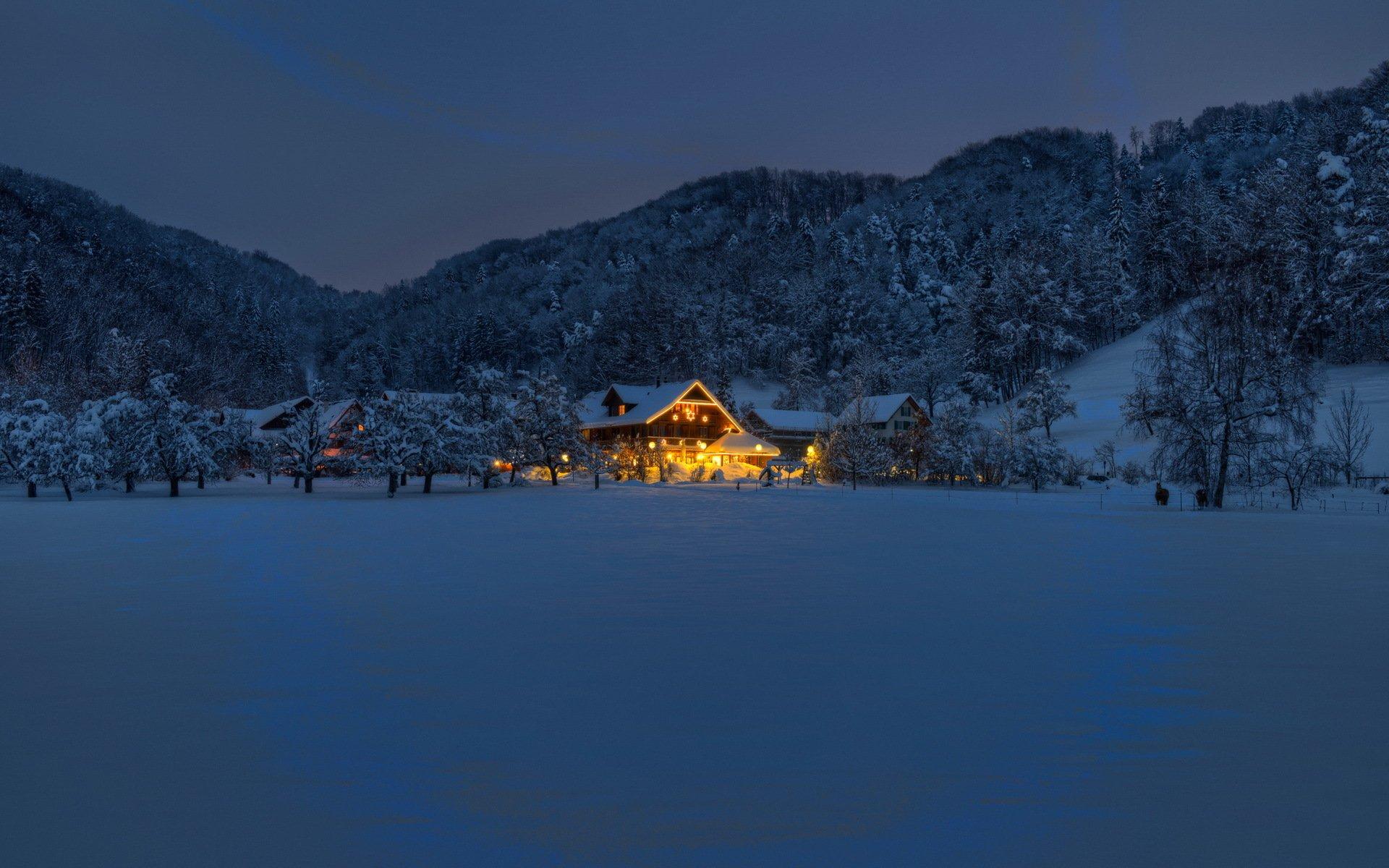 горы дом снег фонарь  № 147844 бесплатно