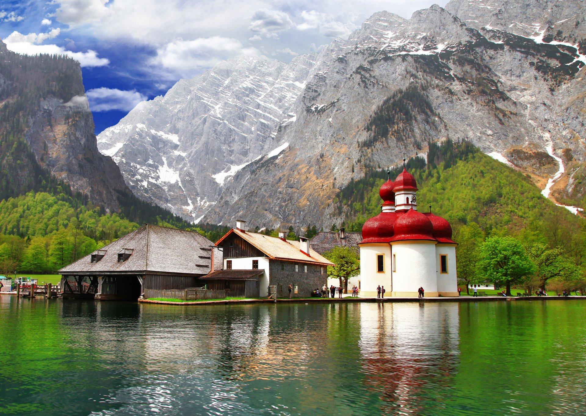 Обои Облака, бавария, германия, горы, природа, свет. Природа foto 15