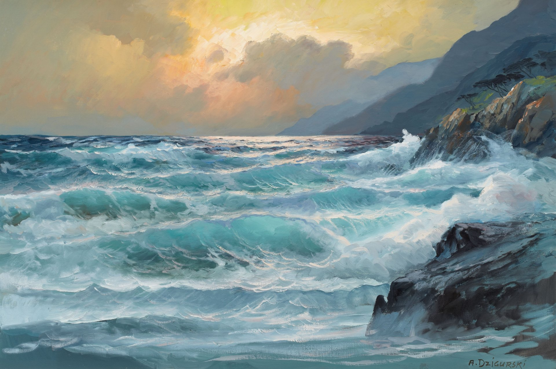 Море и горы картинки живопись, картинки