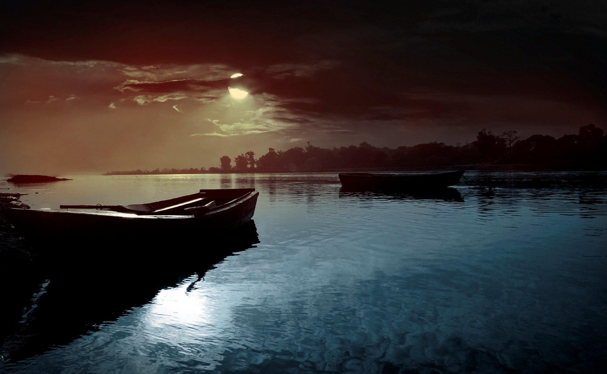 Обои рисунок, Вода, лодки, ночь, свет. Разное foto 10