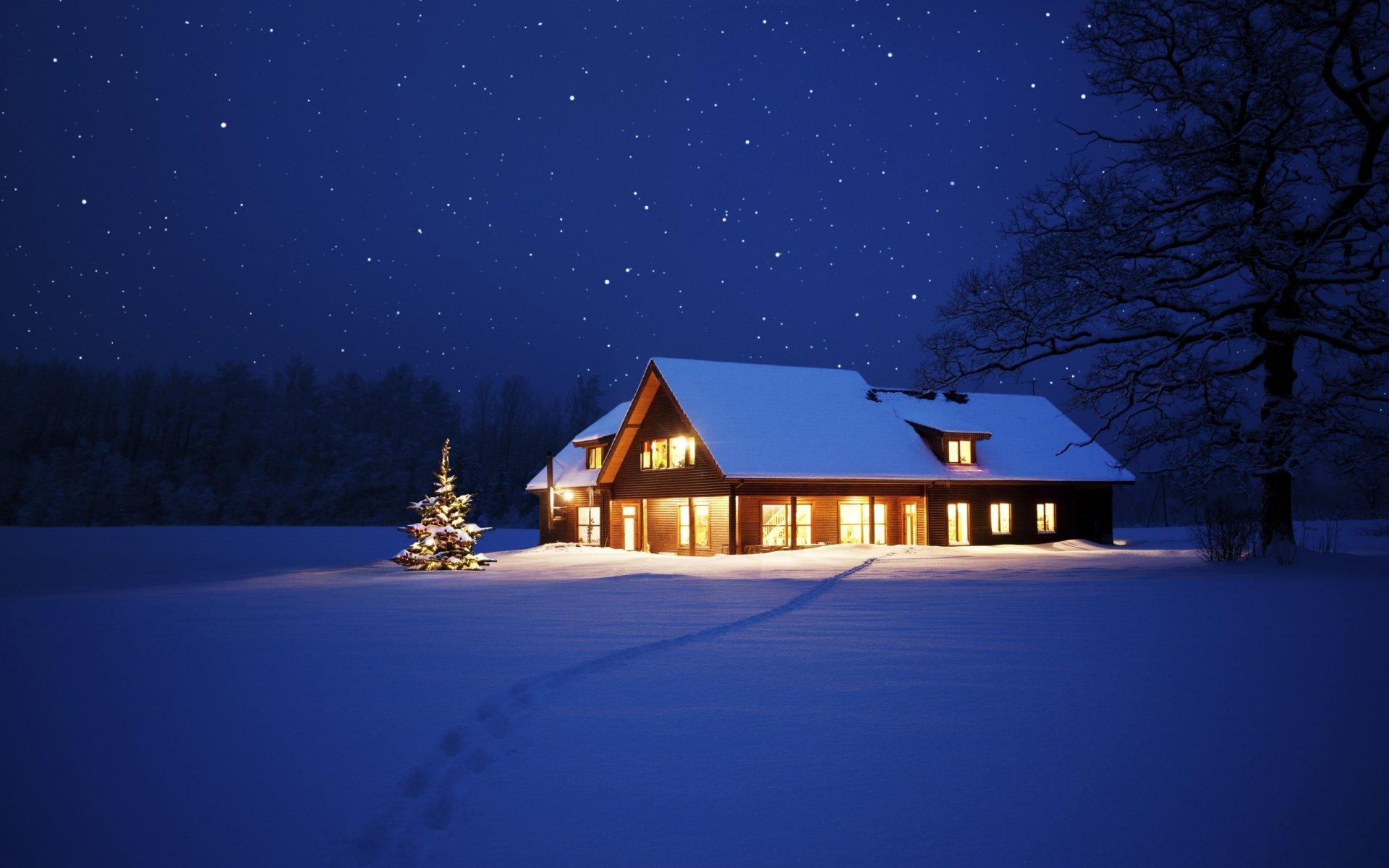 Картинки зимы с домами
