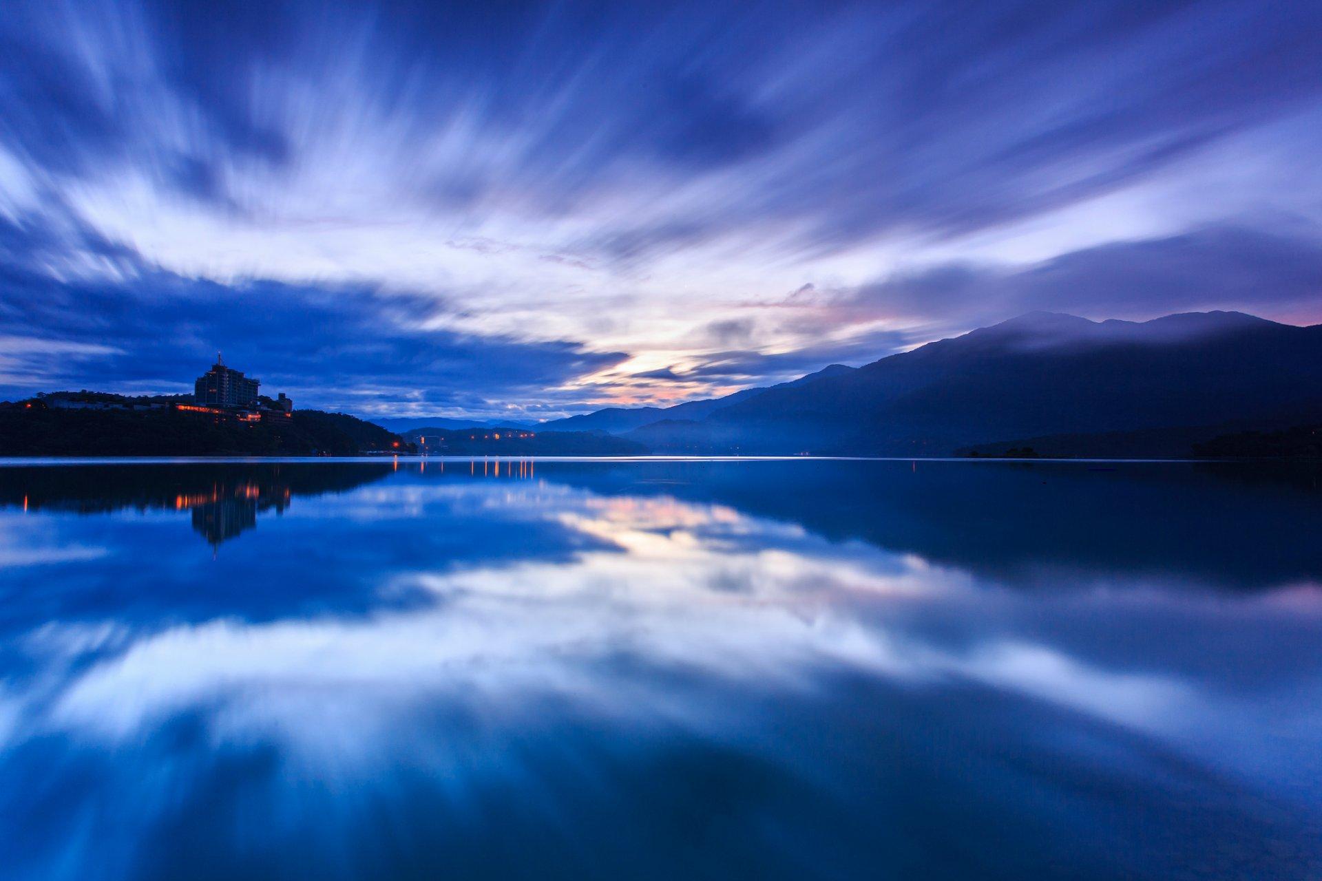 природа озеро отражение небо облака  № 1248415 без смс