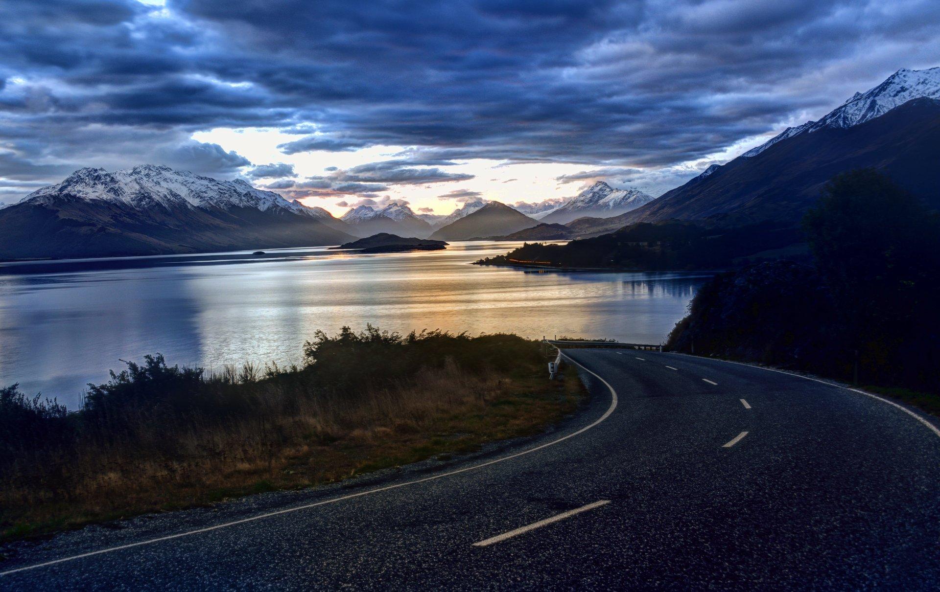 новая зеландия природа небо облака озеро дорога пейзаж