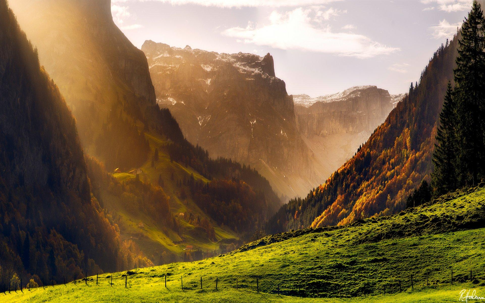Обои Облака, hasliberg, швейцария, осень. Пейзажи foto 11