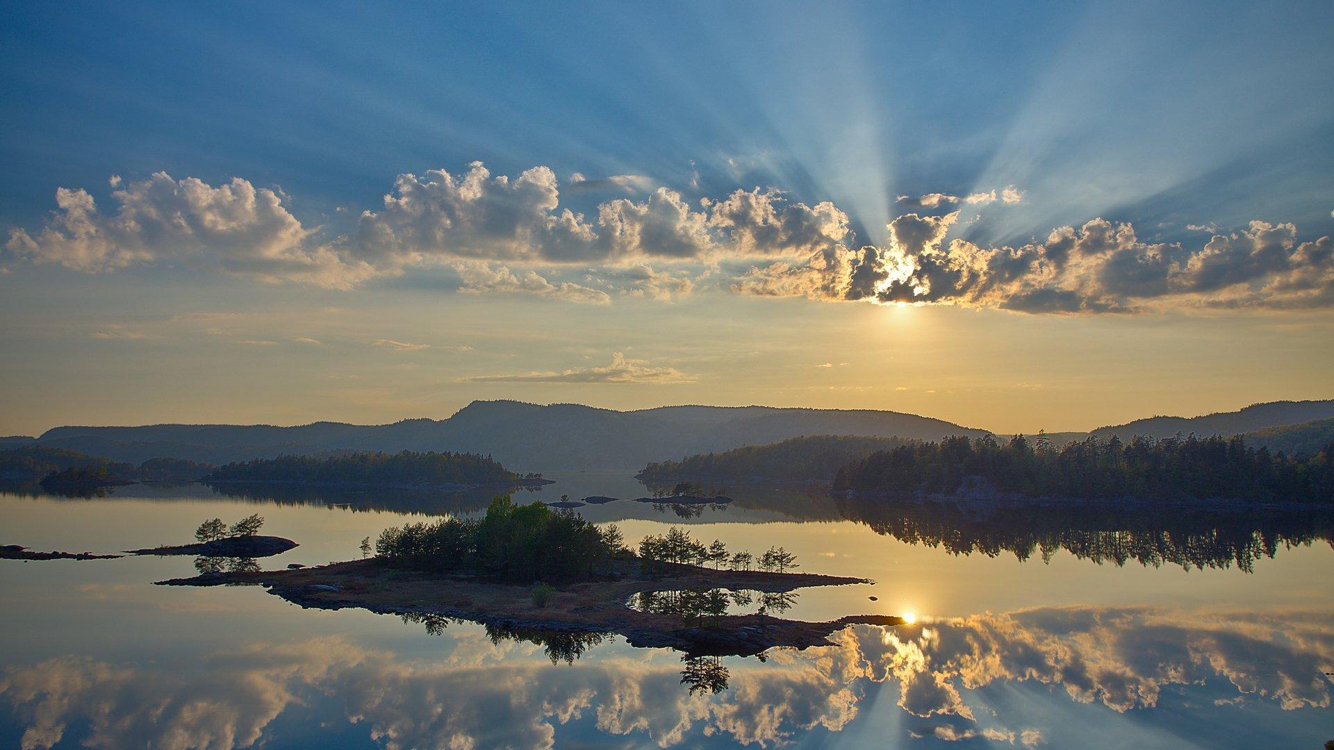 природа река деревья облака небо  № 316516 загрузить